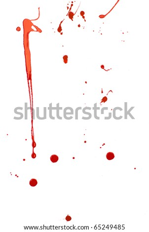 Bloody Background. Blood imitating red paint splash and drops on white