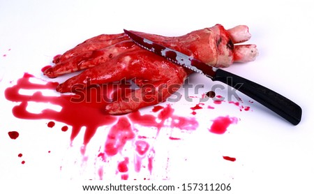 Bloody hand and a knife