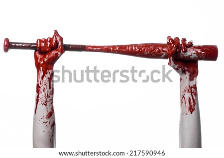bloody hand holding a baseball bat, a bloody baseball bat, bat, blood sport, killer, zombies, halloween theme, isolated, white background.