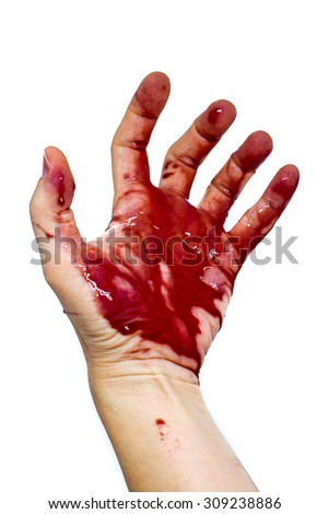 Bloody Hand isolated on a white background - stock photo