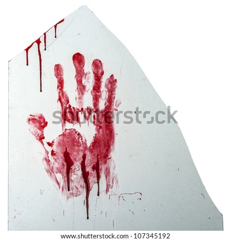 Bloody hand-print on broken glass isolated on white - stock photo