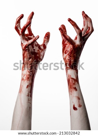Bloody hands on a white background, zombie, demon, maniac, isolated - stock photo
