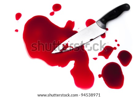 bloody knife with blood splatter isolated on white
