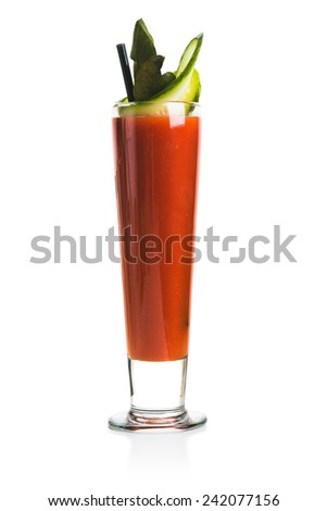 Bloody Mary Cocktail with cucumber. Isolated over white background.
