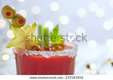 Bloody Mary Cocktail with olives  for Christmas - stock photo