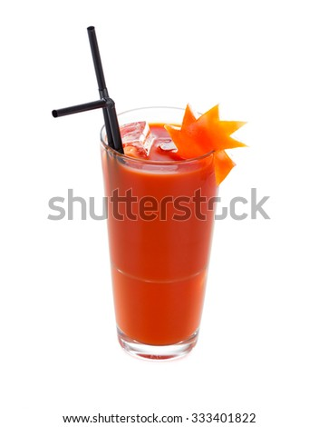 Bloody mary cocktail with tomato, vodka, tabasco sauce and some other special ingredients with salt. - stock photo