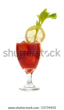 Bloody mary drink isolated on white - stock photo