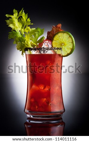 bloody mary drink with lime - stock photo