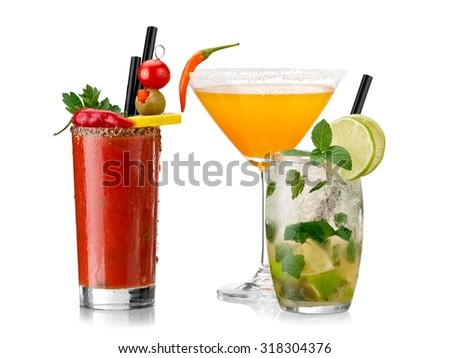 Bloody mary, mojito and chilli martini cocktails