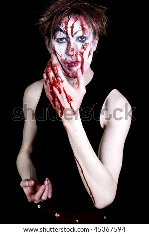 bloody mime on a black background