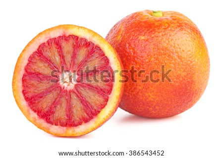 Bloody orange and half isolated on white background - stock photo