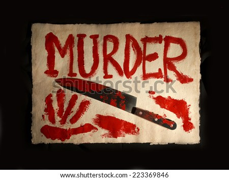 Bloody print on a old paper with the letters MURDER and knife - stock photo