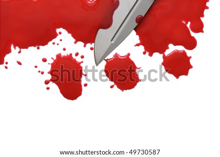 Bloody red blots and knife isolated on white with clipping path - stock photo