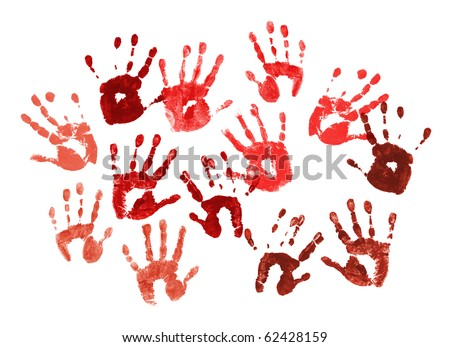 Bloody spooky hands print over white background - stock photo