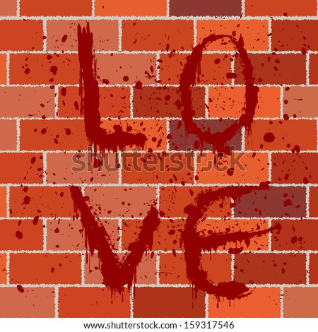 Bloody text on brick wall