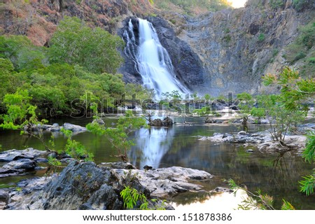 bloomfield waterfall , aboriginal reservation, cooktown, queensland, australia, scenic tropical crocodile infested water lake river - stock photo