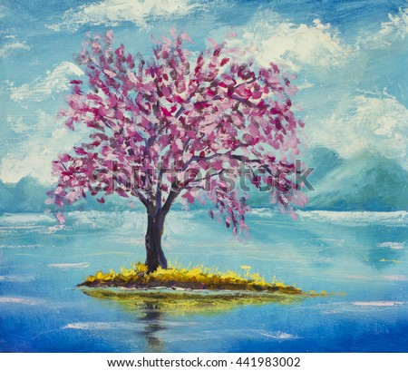 Blooming beautiful pink Sakura on river on a background of mountains. Hand made oil painting on canvas. Impressionism art.