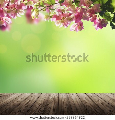 Blooming flowers and green summer (spring) bokeh background with wooden table - stock photo