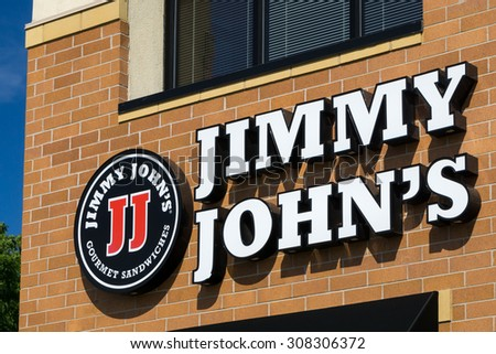 BLOOMINGTON, MN/USA - August 12, 2015: Jimmy John's restauraut exterior. Jimmy John's is an American fast food restaurant franchise that sells submarine sandwiches and salads.