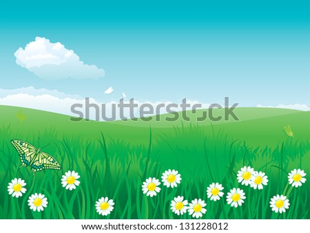 Blossom summer. Illustration of summer landscape with butterflies, many flowers on green grass and blue sky with fluffy clouds