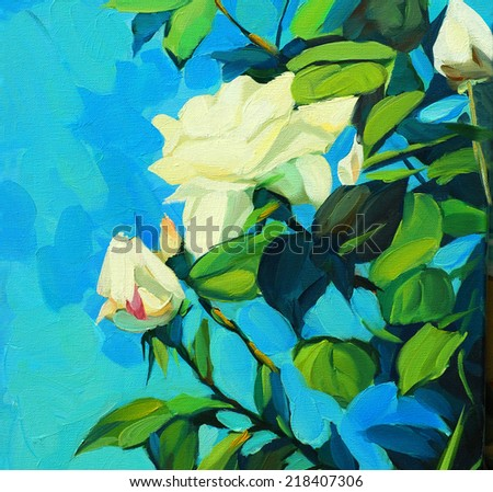 Blossoming bush of white roses - stock photo