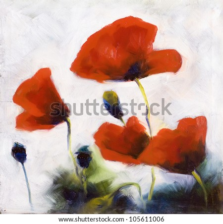 Blossoming poppy and poppy buds drawn by oil color on a canvas