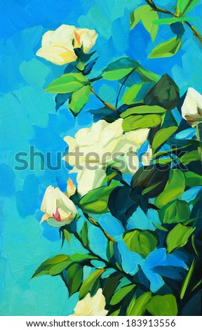 blossoming white roses, painting by oil on a canvas, illustration - stock photo