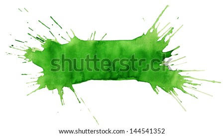 Blot of green watercolor isolated on white paper - stock photo