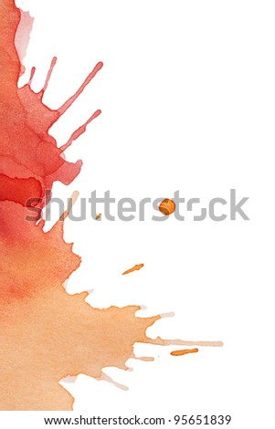 Blot of red-yellow watercolor isolated on white paper - stock photo
