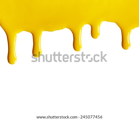 Blot of yellow nail polish isolated on white background - stock photo