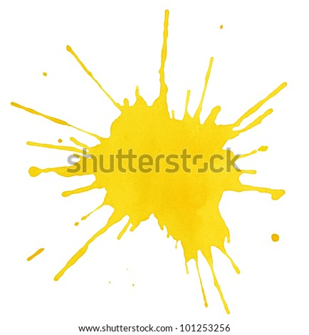 Blot of yellow watercolor isolated on white - stock photo
