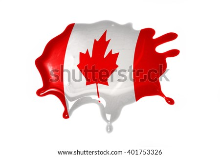 blot with national flag of canada on the white background.3D illustration - stock photo