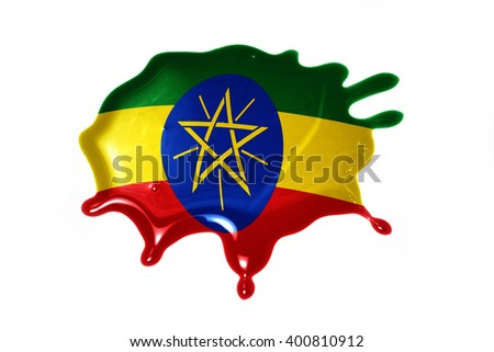 blot with national flag of ethiopia on the white background.3D illustration - stock photo