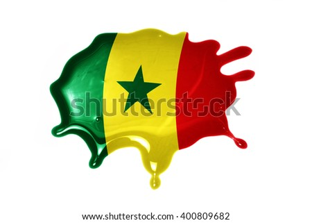 blot with national flag of senegal on the white background.3D illustration - stock photo