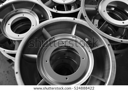Blower Parts Produced by Sheet Metal Stamping Tool Die, Welded and assembled. Black-and-white photo.