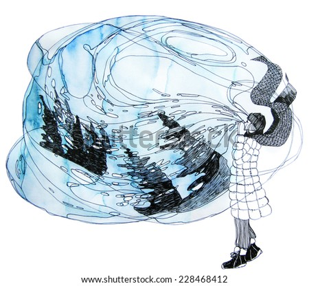 Blowing girl - stock photo