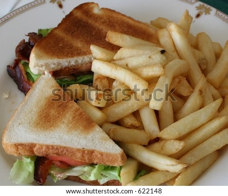 BLT and French Fries - stock photo