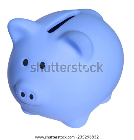 Blue a piggy bank isolated on white background with Clipping Path - stock photo