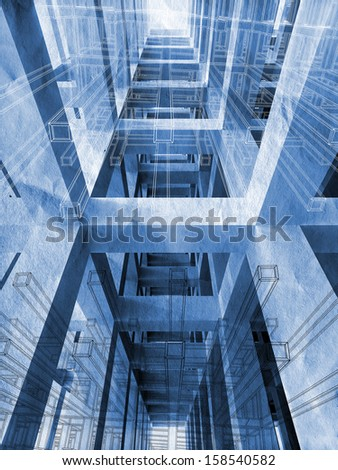 Blue abstract architecture 3d background with interior of braced construction and blueprints - stock photo