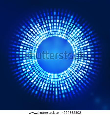 blue abstract background - circles of glowing pixels, concentric circles - stock photo