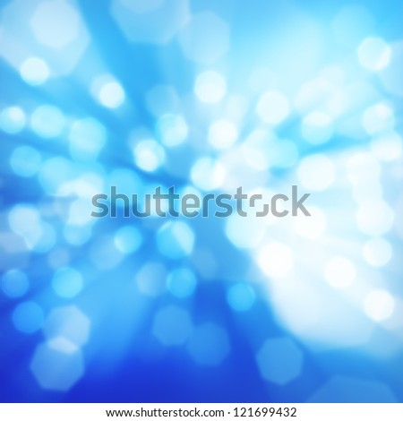 Blue abstract background of glowing winter lights - stock photo