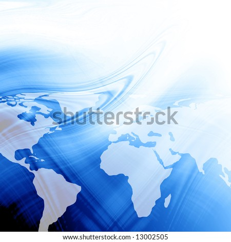 Blue abstract background with an integrated world map - stock photo