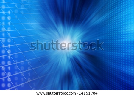 blue abstract background with shapes, grids, light flare and binary numbers