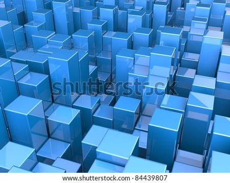Blue abstract cubes