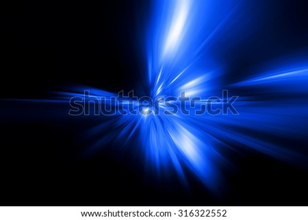blue abstract explosion on a black background - stock photo