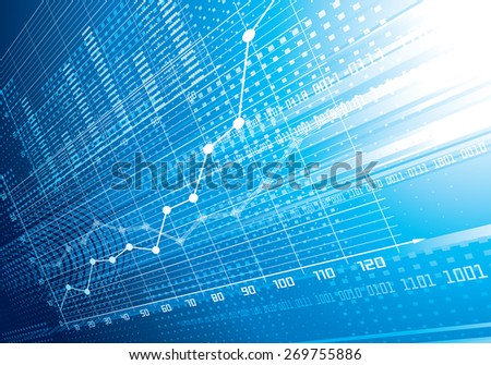 Blue abstract financial background. . CMYK. Organized by layers. Global colors. Gradients used. - stock photo