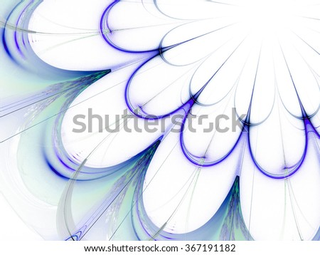 blue abstract fractal background. floral mandala - stock photo