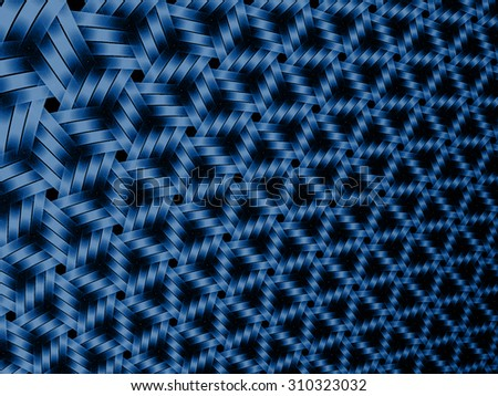 blue abstract futuristic fractal background with crossing lines - stock photo