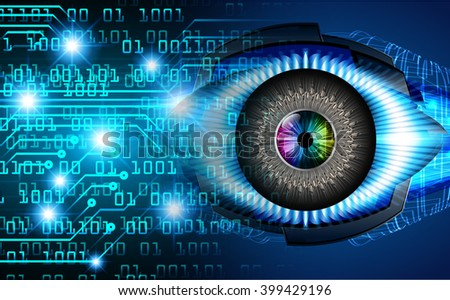Blue abstract hi speed internet technology background illustration. eye scan virus computer - stock photo