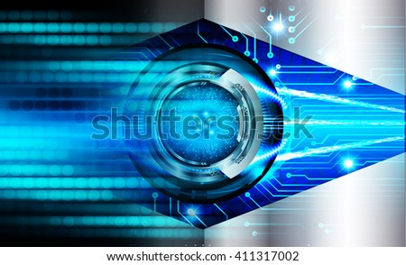 Blue abstract hi speed internet technology background illustration. eye scan virus computer. motion move